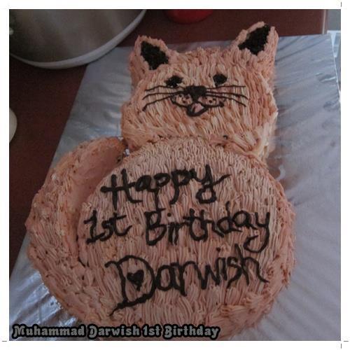 Remarkable Cat Shaped Cake Darwishs 1St Baking Abode Birthday Cards Printable Inklcafe Filternl